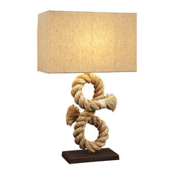 Natural Design House - Nautical Rope Table Lamp - This rope table lamp is  beautiful and unique style that the whole family will love. Natural Design House nautical lamps are made with all natural rope and paired with neutral colored cotton lampshades. Find nautical table lamps with rope crafted into creative twists or tied into traditional nautical knots. Whether you decorate a bedroom, living room or even a dining room with this marine lamp, you'll be sure to impress anyone who comes to see it.
