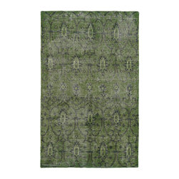 "Kaleen - Kaleen Restoration RES01 50 Green Rug - 8 ft x 10 ft - Kaleen Restoration RES01 50 Green Area Rug - The Restoration collection puts the finishing touches on a classic reproduction for some of the most unique rugs in the world. Hand-knotted in India of 100% wool, each rug is intentionally distressed by hand-shearing for authenticity, over-dyed colors for beautiful style, and complete with the smallest little details for the perfect replica of a vintage antique rug. A 100% natural ""green"" product and completely free of any latex materials."