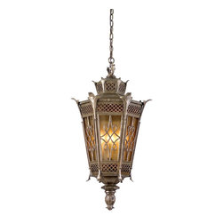 Corbett Lighting - Corbett Lighting Avignon Traditional Outdoor Hanging Lantern X-39-85 - Corbett Lighting Avignon Traditional Outdoor Hanging Lantern impresses with its majestic decor elements. The warm Two Toned Amber glass shade provides your space with a warm illumination while the impressive iron frame design stands out to add an extravagance to your home.