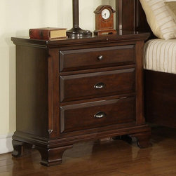 Elements - Canton 3 Drawer Nightstand - Deep Cherry Multicolor - CN600NS - Shop for Nightstands from Hayneedle.com! Antiqued pewter knobs and pulls and a deep cherry finish give the Canton 3 Drawer Nightstand - Deep Cherry its style. Three generous drawers feature full extension metal side glides with built-in stops both French and English dovetail and dust proofing in the bottom drawers for extra protection. A felt-lined top drawer and classic moldings round out the look nicely. About Elements Fine Home Furnishings Inc.Committed to bringing excellent home furnishings to the masses through affordable prices Elements marries exceptional design and exemplary craftsmanship to create affordable functional pieces. High-end materials and technique are supported by a six-point quality control inspection to ensure consistent reliability.Featuring collections tailored for the sophisticated yet casual customer their approach to design is focused on comfort strength and elegance. Elements uses only top grain aniline leather meaning only the most durable and best quality hides are utilized. Aniline leathers are those treated by a transparent dye through all its layers. The resulting finish is translucent letting all the natural imperfections shine through. A firm reliance on solid wood grain allows Elements Fine Home Furnishings Inc. to build products that will outlast several years of everyday use. Traditional styling details coupled with contemporary design helps Elements stand apart from the rest.