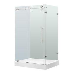 "VIGO Industries - VIGO 36 x 48 Frameless 3/8"" Shower, Clear/Chrome, With Left Base - This VIGO clear shower enclosure adds a touch of elegance and luxury to any bathroom."