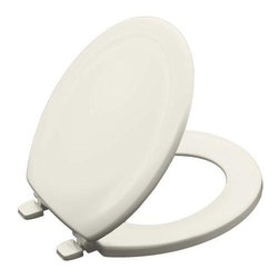 KOHLER - KOHLER Seats Stonewood Round Closed Front Toilet Seat in Biscuit K-4648-96 - This Stonewood toilet seat offers a versatile design that complements many bathroom styles. Compatible with most round-front bowls the compression-molded wood seat provides a substantial look and feel. Color: Biscuit.