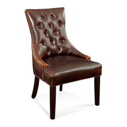 Bassett Mirror - Bassett Mirror Fortnum Nailhead Parsons Chair, Brown Leather (Set of 2) - Fortnum Tufted Nailhead Parsons Chair, Brown Leather, Set of 2