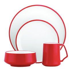 Inova Team -Midcentury Red Ceramic Dinnerware Set - This four-piece set includes plates for salad and entrees plus a multi-purpose bowl and a matching mug. This versatile stoneware set is well suited for casual, everyday dining (with a hint of nostalgia).