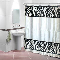 None - Zebra Print Shower Curtain with 12 Decorative Hooks - The zebra shower curtain in a black and white finish is an exotic addition to any bathroom decor. The water-resistant curtain is generously sized at 72 x 72 inches and well constructed of 100-percent polyester.