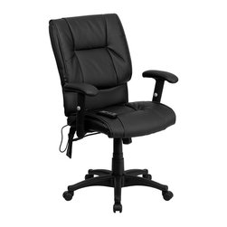 Flash Furniture - Flash Furniture Massaging Leather Executive Office Chair in Black - Flash Furniture - Office Chairs - BT2770PGG - Enjoy a relaxing massage in the comfort of your own office or home with this incredibly comfortable Massaging Executive Office Chair by Flash Furniture. The included remote has a variable slider intensity mode to get to your desired comfort level and has a designated side pocket when not in use. Chair features a mid-back contemporary design with soft leather upholstery and double padded seat and back. Get the most out of your next office chair with this Overstuffed Padded Executive Chair with included Massage feature.