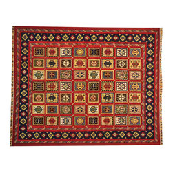 Raised Pile Hand Knotted Neem Buft Soumak Rug 8'x10' Colorful 100% Wool SH16986 - This collections consists of well known classical southwestern designs like Kazaks, Serapis, Herizs, Mamluks, Kilims, and Bokaras. These tribal motifs are very popular down in the South and especially out west.