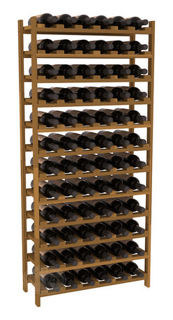 Wine Racks America - 72 Bottle Stackable Wine Rack in Premium Redwood, Oak Stain - Four kits of wine racks for sale prices less than three of our 18 bottle Stackables! This rack gives you the ability to store 6 full cases of wine in one spot. Strong wooden dowels allow you to add more units as you need them. These DIY wine racks are perfect for young collections and expert connoisseurs.
