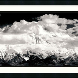 """Amanti Art - """"Mount McKinley Range, Clouds, Denali National Park, Alaska, 1948"""" Framed Print - Ain't no mountain high enough … to escape the mastery of Ansel Adams. This awe-inspiring panorama is dry mounted to prevent rippling, and created with fade-resistant inks on high quality lithographic paper so your view of this natural wonder will never change."""