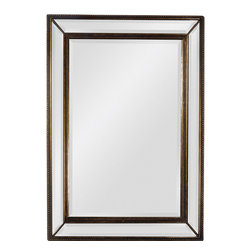 None - 'Sienna' Antique Gold Trim Beveled Mirror - This antique gold mirror features a beveled center mirror and beveled mirrors around the sides. Its sleek design proves that you don't have to try so hard to make a sophisticated impression.