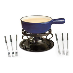 Swissmar Lugano Fondue Set Deep Blue - The Swissmar Lugano 9 Piece Fondue Set is a traditional style  cast iron cheese fondue set.  This set includes a fondue pot  black wrought iron rechaud  six cheese fondue forks and a fondue burner. The pot is enamelled inside and provides even heat distribution. Can be used on all heat sources - easy to clean. Capacity 2L/2 Qt. Gift boxed.  Product Features      Set includes: cast iron pot--enamelled inside for easy cleaning; wrought iron rechaud with tray; fondue burner; 6 3-prong fondue forks with wooden handles; fondue pot   Pot capacity: 2L / 2Qt   Cast iron provides even heat distribution--no hot spots   Ideal for cooking at high & low temperatures   Can be used on all heat sources   Easy to clean