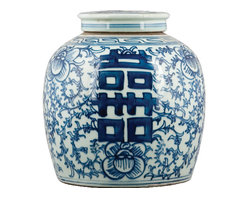 "Oriental Danny - Blue and white porcelain ginger jar - This classic porcelain blue and white is designed with a lucky Chinese character ""Double Happiness"". Chinese blue and white wares are traditional accessories that fit into a room of any style and color."