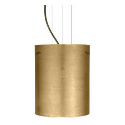 Besa Lighting - Besa Lighting 1KG-4006GF Tamburo 1 Light Cable-Hung Pendant - Tamburo is a classic open-ended cylinder of handcrafted glass, a shape that will stand the test of time. Our Gold Foil glass is sparkling and metallic. Distressed metal foil is applied to the inner surface of a glossy clear blown glass. This decor is full of textured and depth, however the outer surface of the glass is smooth. When lit the glass comes to life, as the distressed foil allows glimpses of light to pass through. This blown glass is handcrafted by a skilled artisan, utilizing century-old techniques passed down from generation to generation. Each piece of this decor has its own artistic nature that can be individually appreciated. The cable pendant fixture is equipped with three (3) 10' silver aircraft cables and 10' AWM cordset, and a low profile flat monopoint canopy.Features: