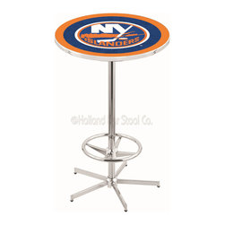 Holland Bar Stool - Holland Bar Stool L216 - 42 Inch Chrome New York Islanders Pub Table - L216 - 42 Inch Chrome New York Islanders Pub Table  belongs to NHL Collection by Holland Bar Stool Made for the ultimate sports fan, impress your buddies with this knockout from Holland Bar Stool. This L216 New York Islanders table with retro inspried base provides a quality piece to for your Man Cave. You can't find a higher quality logo table on the market. The plating grade steel used to build the frame ensures it will withstand the abuse of the rowdiest of friends for years to come. The structure is triple chrome plated to ensure a rich, sleek, long lasting finish. If you're finishing your bar or game room, do it right with a table from Holland Bar Stool.  Pub Table (1)