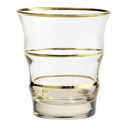 Gold Line Double Old Fashion - Why settle for plain glassware when you can set out sophisticated double old fashion glasses like these? This gold-lined drinkware is hand-painted and has weighted bases to make handling easier.