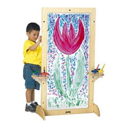 Jonti-Craft See-Through Childrens Easel - This easel is framed with sturdy wood that's sure to last for many years to come. Children can paint on both sides of this clear acrylic easel. Paint cup holders are mounted on both sides of the Birch frame. Paint trays included. Minimal assembly is required.
