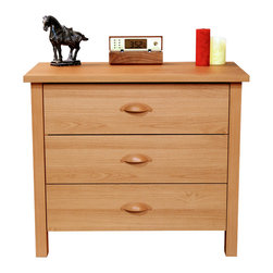 Venture Horizon - Venture Horizon Oak Finish Nouvelle 3-drawer Chest - Add a classic touch to your space with this three-drawer chest from Venture Horizon. A durable wood construction,oak finish and spacious drawers complete this chest.