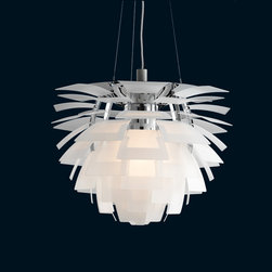 Louis Poulsen - Louis Poulsen PH Artichoke Suspension Lamp - The PH Artichoke Suspension Lamp comes in 4 sizes: small, medium, large, and extra large.  The fixture provides 100% glare-free light.  The 72 precisely positioned leaves form 12 unique rows of six leaves each.  They illuminate the fixture as well as emitting diffused light with a unique pattern.  The fixture's finish is available in copper (lacquered), stainless steel (brushed), or white (wet painted).  The leaves are created in die cut copper, laser cut stainless steel, or die cut steel.  The frame is created in high lustre chrome plated, laser cut steel.  The suspension is created in high lustre chrome plated, spun aluminum.  This fixture is suspended by three stainless steel aircraft cables and the canopy is white.  The copper version comes with a black cord and the stainless steel and white versions come with a white cord.  The small lamp requires one 200W A-23 medium incandescent bulb.  All other lamp sizes require one 500W PS-35 CL mogul bulb.  Suitable for dry locations.  UL listed.  Manufactured by Louis Poulsen.