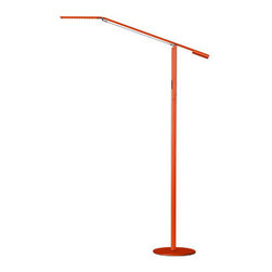 Koncept Lighting - Equo LED Warm White Floor Lamp - Equo floor lamp features a discreet counterweight design for feather-light adjustability. One finger is all you need to adjust the floating arm's position. The special neck joint maintains the head's tilt as the arm swings up or down. Slide your finger along the stem's touchstrip to control brightness and power. The luminaire head is rotatable in 180 degrees and is detachable for easy replacement. Finish available in black, silver and orange. Available in a desk and floor lamp version. Includes 9 foot cord. Features a warm white 3500K or cool white 4500K color temperature. CRI of 85. Rated average life of 50,000 hours. Includes 28 LED lamps totalling 6 watts. Task light distribution. c/UL listed. 10 inch diameter x 44.75 inch height. Horizontal reach is 32 inches. Vertical reach is 56.75 inches.