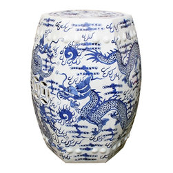 Belle & June - Blue & White Hex Fire Ball Dragon Garden Stool - Fire breathing dragons become a work of art on this white garden stool. Traditional blue and white come together to adorn an Asian inspired garden stool.