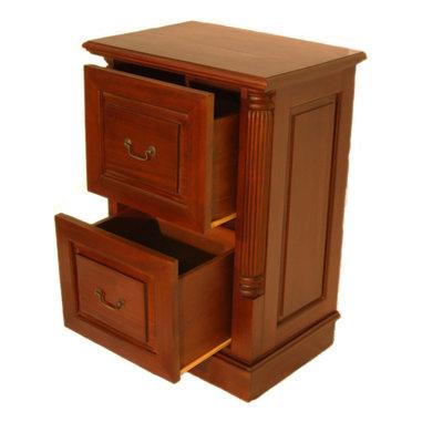 Perfect Unique Furniture 100 Series Walnut High Desk File Cabinet