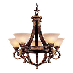 Frontgate - Catalonia 5-Light Chandelier - Provides ample illumination while making a brilliant focal point for a dining room or foyer. Uses five 100-watt medium base bulbs (not included). 120V. UL listed. One year limited manufacturer's warranty. Our Catalonia 5-light Chandelier takes a classical Old World design and enhances it with a beautiful aged walnut finish and hand-painted gold leaf highlights. Antique white Spanish alabaster glass dresses the chandelier's five bulbs. Bring an antique appearance to your dining space.. . . . . Some assembly required. Imported.