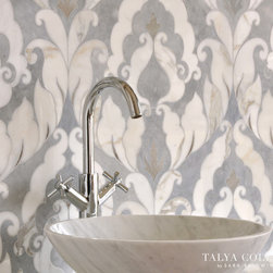 Rumi, Talya Collection by Sara Baldwin for Marble Systems - Rumi, a stone waterjet mosaic  shown in Palisandra veincut and Snow White, is part of the Talya Collection by Sara Baldwin for Marble Systems.
