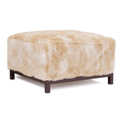 Howard Elliott - Luscious Natural Axis Ottoman - Mahogany Frame - Live on the Wild Side! Get in touch with your wild side with a Faux Fur Axis Ottoman. Get cozy in the lush pile and super soft texture of a Faux Fur Axis Ottoman and be more comfortable than you ever have before. Maximize your comfort by placing the Faux Fur Axis Ottoman on its own or pair it up with additional Ottoman, Chair or Corner Pieces and arranging them in countless configurations.
