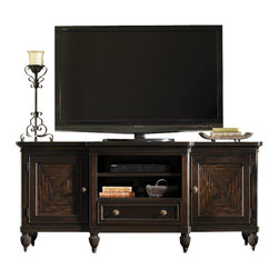Tommy Bahama Home - Tommy Bahama Home Royal Kahala Maui Entertainment Console - Tommy Bahama Home - TV Stands - 010537907 - Royal Kahala named for the spectacular oceanfront enclave on the island of Oahu represents the most refined and elegant of the lifestyles within the Tommy Bahama Home portfolio. The collection evokes a sense of romance and intrigue through the fusion of eclectic design exotic materials and rich finishes . . .  a connoisseurs approach to island living. Designs are crafted from Ribbon Stripe and Quartered Mahogany veneers in an elegant dark Kona finish. Custom hardware with exquisite detailing is finished in bronze with a soft aged patina. Upholstered seating features hand-carved frames and dramatic fabric correlations that will awaken your sense of style. Discover the elegant side of Tommy Bahama and capture the essence of refined island living with Royal Kahala from Tommy Bahama Home.