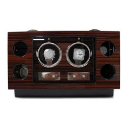 Bey-Berk Ebony Burl Wood 2-Watch Winder/4-Watch Case - The Bey-Berk Ebony Burl Wood 2-Watch Winder/4-Watch Case is a unique way to both store your watches and keep them functioning. Constructed from a lacquer ebony natural wood finish, this beautiful display features a two-watch winder and storage of up to four watches with glass faces. Features include selectable winding modes for clockwise, counterclockwise, or dual direction rotation, LED backlights, and selectable winding cycles.About Bey-Berk InternationalBey-Berk International was founded in 1981. This company offers innovative products for the home and office. They continually develop premium products using superior craftsmanship. Today they offer a wide variety of products. With Bey-Berk you can always find the perfect item to complete a professional office, delight an interior design buff, and perfectly outfit a man cave. Bey-Berk offers personal and travel accessories, jewelry boxes, bar games, cigar accessories, bookends, sculptures, desk accessories, picture frames, clocks, and so much more -- all of the highest quality.