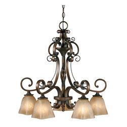 Golden Lighting - Meridian 5-Light Nook Chandelier - Exuding a classically casual Mediterranean style, this chandelier is the perfect fit above your dining or kitchen table. Flat scrolling arms are fitted with antiqued marble glass shades to provide elegant illumination.