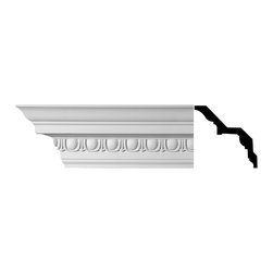 Renovators Supply - Cornice White Urethane Saint-Denis - Cornice - Ornate | 11364 - Cornices: Made of virtually indestructible high-density urethane our cornice is cast from steel molds guaranteeing the highest quality on the market. High-precision steel molds provide a higher quality pattern consistency, design clarity and overall strength and durability. Lightweight they are easily installed with no special skills. Unlike plaster or wood urethane is resistant to cracking, warping or peeling.  Factory-primed our cornice is ready for finishing.  Measures 5 1/4 inch H x 94 inch L.