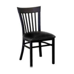 "Furniture MC205 BL - Furniture MC205 BL - Side Chair, metal slat back, upholstered 2"" padded seat, fully welded powder coated 16 gauge steel frame with black textured finish, plastic floor glides, black vinyl"