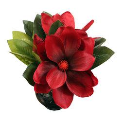 "Vickerman - Triple magnolia in Glass - 9"" Triple magnolia in Glass Vase"