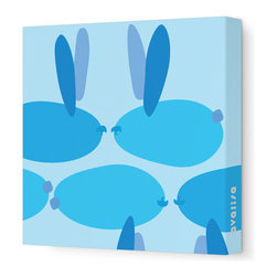 "Avalisa - Animal - Bunnies Stretched Wall Art, 12"" x 12"", Blue - Wit and whimsy — for your child's room, or to appeal to the kid inside — is the whole point of this bubbly bunny print. And unfussy, unframed stretched fabric keeps the look from being too cute."