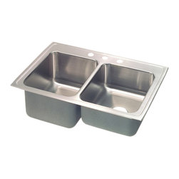 """Elkay - Elkay STLR4322L3  Lustertone Gourmet Double-Bowl Sink - Elkay's STLR4322L3 is a Lustertone Gourmet Double-Bowl Sink. This sink is constructed of 18-gauge type 304 nickel-bearing stainless steel, and can be mounted on almost any surface. It features a 7-5/8"""" standard bowl, a 10-1/8"""" deep bowl, and two 3-1/2"""" drain openings. This sink comes with a three-hole faucet mount, and comes with the deep bowl on the left-side."""