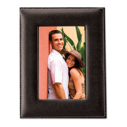 Lawrence Frames - Black Leather 5x7 Picture Frame - Black bonded leather frame with delicate outer edge stitching. High quality 5x7 leather picture frame comes individually boxed. Includes beautiful black velvet easel backing for tabletop display.