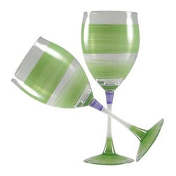 Retro Stripe Green Wine Glasses  Set of 2 - This lovely hand painted wine glass is in a retro style.  It is green with accent colors.  Perfect for any season or occasion.  Something to be handed down from generation to generation.  Proudly hand painted in the USA.