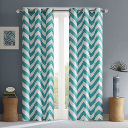 ID-Intelligent Designs - Intelligent Design Pisces Curtain Panel Pair - The chevron window panel will add a dramatic modern pop to your room. The bold black and white chevron print pair perfectly creating an edgy and fresh look.
