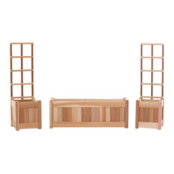 All Things Cedar - All Things Cedar PL30U-Set 3pc. Planter Set w/ Trellis Screen - Set includes:  1 - PL30U Planter Box with 1 - TS33U-2 Hinged Trellis Set    Dimensions:   66 x 12 x 84 in. (w x d x h)