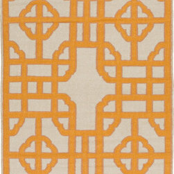 "Surya - Surya Alameda AMD-1067 (Tan, Burnt Orange) 3'3"" x 5'3"" Rug - In the Alameda collection by Surya, you can find striking geometric shapes and bold colors. This diverse collection contains contemporary rugs as well as transitional rugs. These modern rugs are constructed with traditional flat-weaving in 100% wool."