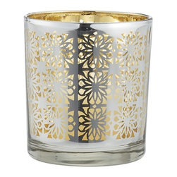 Raj Candleholder - With a pretty gold interior and silver exterior, this votive can be used year-round.