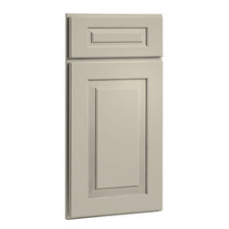CliqStudios.com - Cambridge Urban Stone Gray Paint Shaker Kitchen Cabinet Sample - Cambridge's wider stiles and rails, combined with five piece drawer front reflect a more refined traditional or transitional style. The CliqStudios Cambridge door pairs perfectly with stainless appliances, nickel finish hardware, glass subway tile backsplash, modern bar stools, hardwood floors and granite countertops. Cambridge works equally well in an open concept kitchen, galley kitchen, u-shaped kitchen, kitchen island, kitchen peninsula or in a nearby kitchen desk or window seat. Consider coordinating with a variety of recessed lighting, undercabinet task lighting, pendant lighting and other decorative accents.