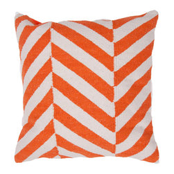 """Jaipur Rugs - Orange/Ivory color cotton medina pillow poly fill pillow 18""""x18"""" - Hand woven from 100% cotton the Cadiz pillow collection offers a range of open geometrics in bold color combinations. The collection coordinates with Jaipur Maroc and Urban bungalow flat weave rugs."""