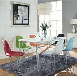 "LexMod - Simplicity 7 Piece Dining Set in MultiColored - Simplicity 7 Piece Dining Set in MultiColored - Sit yourself around an abstracted landscape of lived experience. Guide latent capabilities through the paradigm of conscious experience. With a smooth white oblong table top and supportive steel legs, let this uncomplicated piece cleanse your living space. These molded plastic chairs are both flexible and comfortable, with an exciting variety of base options. Suitable for indoors or out, appropriate for the living and dinning room, these versatile chairs are a great addition to any home dcor statement. Set Includes: One - Simplicity Dining Table Six - Wire Eiffel Chairs Set Chairs: Chromed Steel Base, Plastic Non-Marking Feet, For Indoor or Outdoor Use Overall Table Dimensions: 47""L x 31.5""W x 14""H Overall Chair Dimensions: 21""L x 18.5""W x 32.5""H Seat Dimensions: 17""L x 18""W x 18""H Overall Product Dimensions: 68""L x 52.5""W x 32.5""H - Mid Century Modern Furniture."
