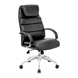 Zuo Modern - Lider Comfort Office Chair Black - Add chic style and comfort to your workspace with our Lider Comfort Office Chair. It is equipped with a folded headrest, segmented back cushion, curved padded armrests, adjustable seat height and tilt mechanism and casters, making it comfortable, sturdy and stylish. It's the perfect chair to compliment any office.
