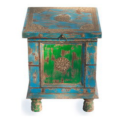 """Everybody's Ayurveda - Rustic Side Table In Multi Color - Rustic Multi-Color SideTable. Distressed Blue and Green. Made in India. Top opens to provide handy storage. 15"""" Wide x 14"""" Deep x 19"""" Tall. Hand crafted in India, this colorful piece can be used for an accent table or storage in your bedroom. The distressed finish and detail add personality!"""