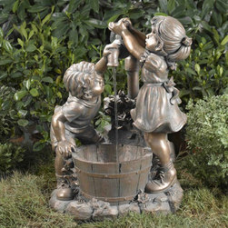 "Jeco - Boy and Girl Water Fountain without Light - ""The detailed resin casting used to construct this fountain enables you to enjoy the texture of the children's hair and clothes. The figures feature a painted bronze finish that has been painted to create aged, weathered nuance."