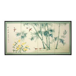 """Oriental Furniture - 36"""" Bamboo and Five Birds - The Bamboo and Five birds motif is auspicious, with beautiful bamboo trees and delightful songbirds. Note that no two renderings are exactly the same. Subtle, beautiful hand painted wall art."""