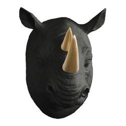 Wall Charmers - Wall Charmers Rhino in Black + Gold Horns   Faux Taxidermy Resin Fake Head Art - WALL CHARMERS FAUX TAXIDERMY RHINO HEAD